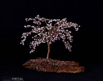 Cherry Blossom Crystal Wire Tree Sculpture