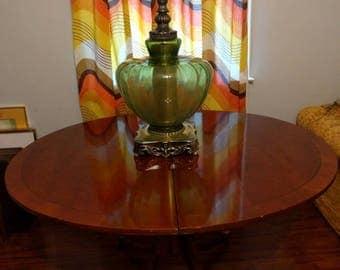 "Huge 44"" Tall Vintage Hand Blown Glass & Brass Lamp"