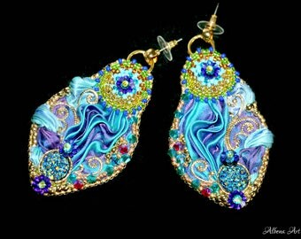 "Earrings ""Peacock"""