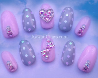 Pastel Pink and Grey polka dots and Swarovski Heart and Bow full false/fake 3D nails japanese gel nail art