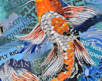 Koi Fish Collage Giclee Print