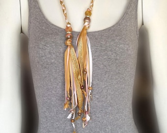 Wrap Braided Leather and Ribbon Tassel Necklace, Gold, Light Pink and White