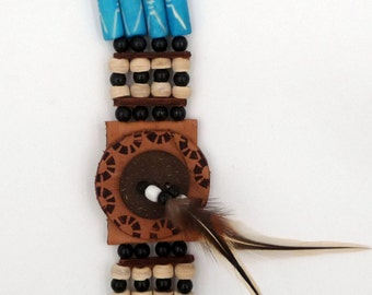 Native American leather, feathers and bones 3 ranks Native American Bone Leather Bracelet
