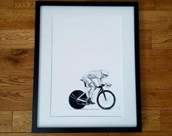 Cycling print, cycling art, bicycle print, cycling gift