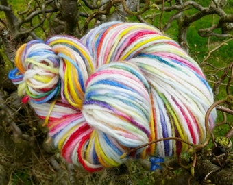 Hand Dyed Yarn - Colors of Joy w. white - by Kiilerich Merino Lux base, mulesing free 80 merino, 20nylon, DK weight