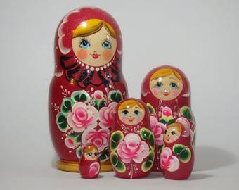 Red Nesting dolls, Red matryoshka, Мatrioshka, Babushka toys, Ethnic nesting doll, Russian ornament, Babushka doll, Russian nesting doll