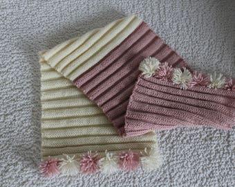 Cream and pink dusty scarf, ladies shawl,