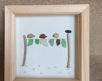 Pebble and sea glass art - birds on a washing line