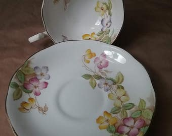 Clematis Royal Albert Crown China England cup and saucer