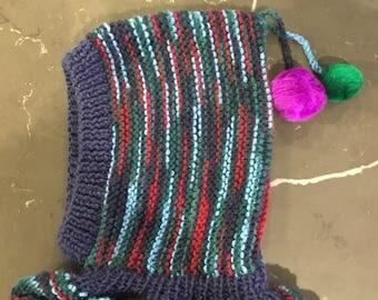 Children's hand knitted balaclava hat