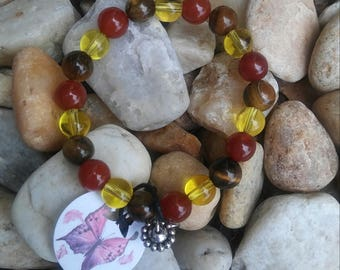 Cornelian, citrine and eye tiger bracelet