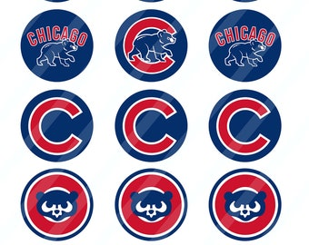 Chicago Cubs 2 inches round for cupcake toppers sheet size 8.5x11 - Instant Download