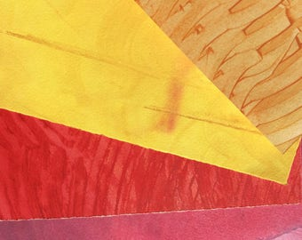 Paste Paper. Hand decorated paper for all creative uses.  Reds & yellows. Ref #1701