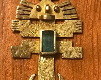 Ancient Columbian 18k Gold Religious Pendant  w/ Columbian Emerald