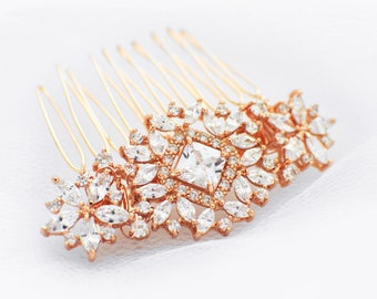 Gold wedding hair accessories, gold crystal hair comb, gold wedding hair comb, CZ rhinestone hair piece, bridal hair piece, hair comb