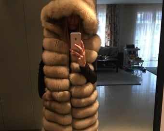 Real Fox Fur Vest with a Hood