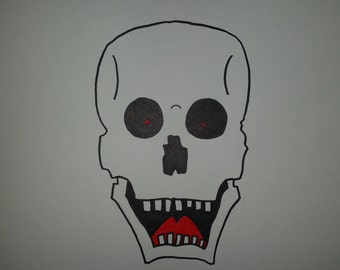 Excited Skull ink drawing