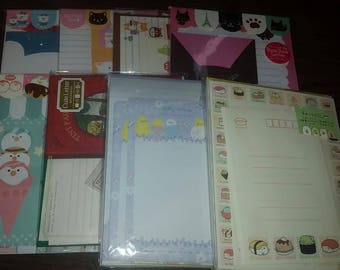 Kawaii Letter Sets & Sticker Flakes Lot - 6 Letter Sets and 50 Sticker Flakes
