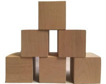 "WOODEN BLOCKS 2""x2""x2"" (6 Pack), Wood Craft Blocks, Wood Cubes, Made in USA by Crossroad Sales"