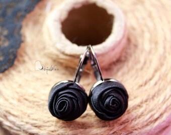 Fabric earrings Rose earrings Little aerrings Black textile earrings Fabric Flower earrings Floral jewelry Gift for her Small earrings