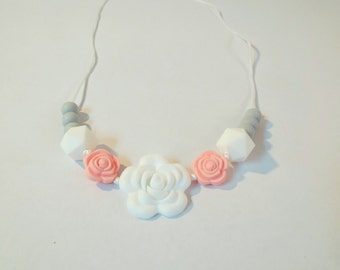 White and Pink Rose Teething Necklace,  Mom Ware, Teething Accessories, Baby Girl, Baby Gift, Silicone Beads