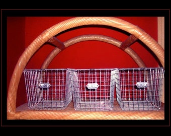 3 vintage wire baskets