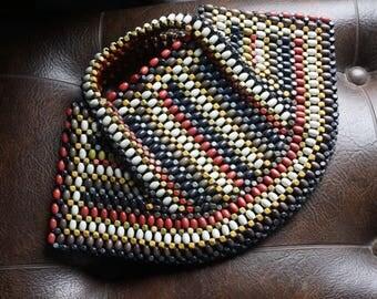 1930s Vintage Wooden beaded Czech Handbag, large/unique shape!
