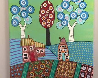 Folk Art Country Neighbors Acrylic Painting