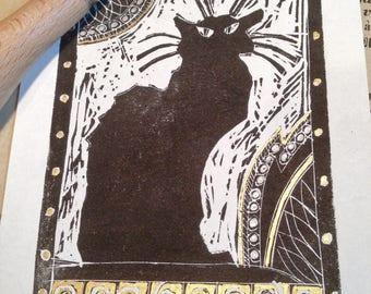 Chat Noir lino print. French Black Cat Paris