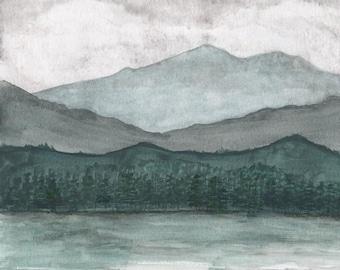Forest Landscape, watercolor painting, art print