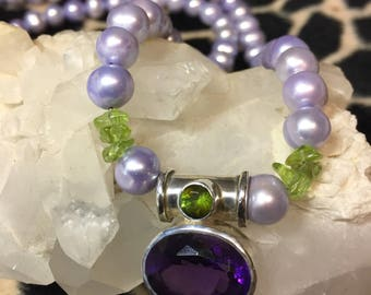 Lovely Lavender Pearls with Peridot Accents Featuring a Sterling Silver Amethyst and Peridot Pendant