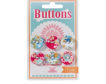 "TILDA ""Bumblebee"" Fabric Covered Buttons, 20 mm, 6 pcs per card"