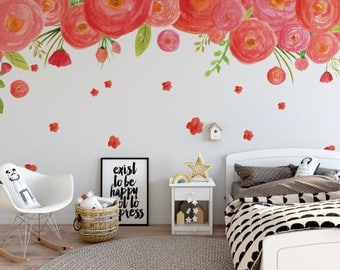 Peach & Pink Cascading Flowers Peel and Stick Wallpaper