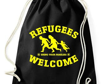 Refugees welcome bring your families gym bags
