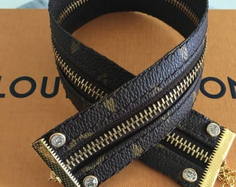 Authentic Monogram Louis Vuitton 2 in 1 Zipper Wrap Bracelet & Zipper Chocker, Repurpose,Recycle,Upcycle,Handmade
