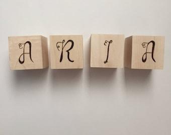 Custom Wood Blocks, Baby Name Blocks, Alphabet Blocks, Baby Gift, Personalized Blocks, Baby Shower Gift, Natural Wood Blocks