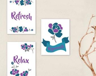 Flower Wall Art, Flower Print, Flower Wall Decor, Bathroom Wall Art, Flourish Print, Floral wall print, Flower print collection