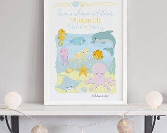 Our Ocean Animals Birth Print