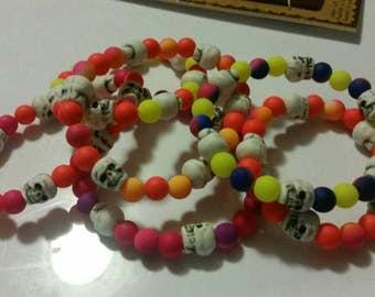 Skull Beaded Neon Bracelets