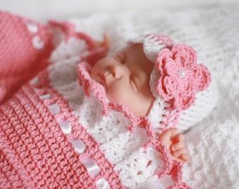 Crochet Baby Blanket/Afghan and Hat White Satin Ribbon Christening Baptism Granny Square Handmade Crochet Blanket, Baby Girl Set Shower Gift