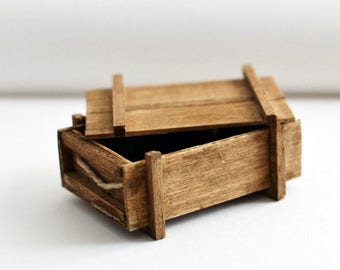 miniature wooden crate