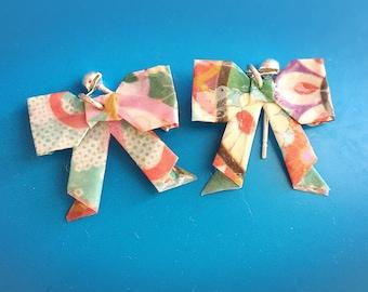Jewelry origami earrings, bow, ribbon, bow earrings, origami earrings