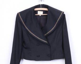Charlotte Halton Womens 14 Blazer Double Breasted Black Jacket Vintage