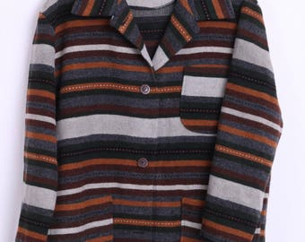 Department Womens M Vintage Blazer Striped Wool Outdoor Multi Color