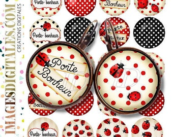 coccinelle porte bonheur id 1 Digital Collage Sheet Printable Instant Download for art jewelry scrapbooking bottle caps magnets pins