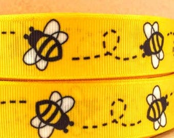 Grosgrain Ribbon Yellow Bumble Bee High Quality 7/8 inch wide 22mm