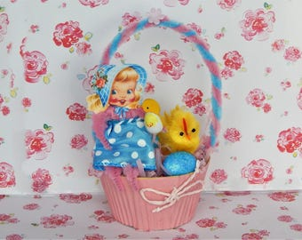 Little Sally Pink Easter Basket Bump Chenille Chick