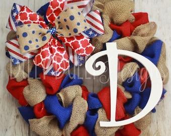 Burlap wreath - American Flag wreath - Memorial Day - 4th of July - custom gift - neutral burlap wreath - custom