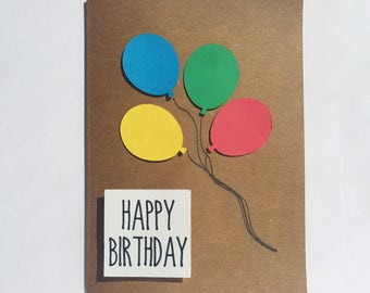 Handmade - Happy Birthday Card - Balloons - 3D - Multi-Colored Cardstock