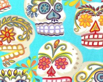 Alexander Henry Gothic Calaveras Sugar Skulls on Aqua Blue 100% Cotton Fabric - FQ
